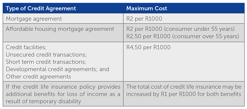 Cliffe Dekker Hofmeyr  New Limits For Credit Life Insurance Premiums